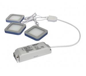 TRIO-3SB60K - 3 x 3W Square Black 6000K Magnetic LED Lights with Driver