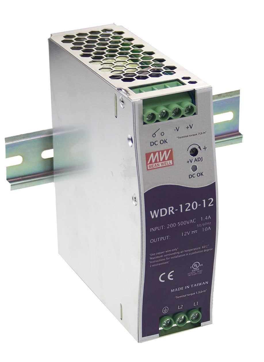 WDR-120-12 is a 120W 12V 10A Single Output Industrial DIN ...