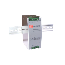 Mean Well DR-75-12 12 76W 12V 6.3A  Single Output AC-DC DIN RAIL Power Supply from Power Supplies Online